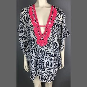 NWT Swim coverup Club Z Collection pink beading